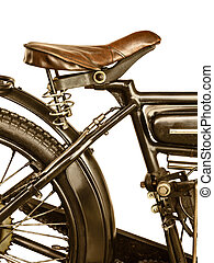 Retro styled image of a motorcycle isolated on white