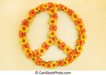 Retro styled image of a seventies flower power peace sign