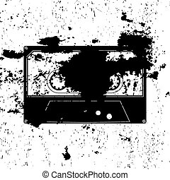 Retro styled image of an old compact cassette, black color, vector illustration