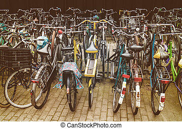 Retro styled image of Dutch bicycles