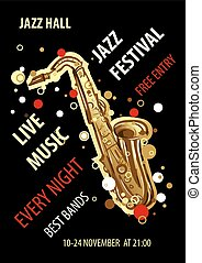 Retro styled Jazz festival Poster. Abstract style vector illustration.