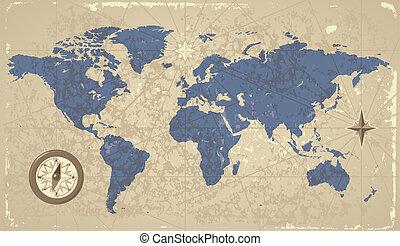 retro-styled, mapa mundial, com, compasso
