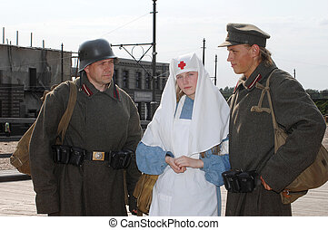 Retro styled picture with nurse and two soldiers - Old style...