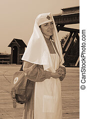Retro styled picture with nurse - Old style picture with...