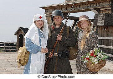 Retro styled picture with two womens and soldier