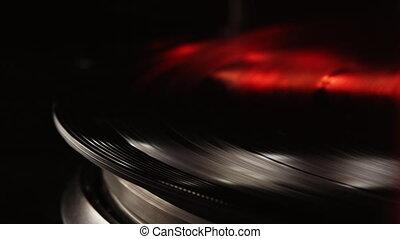 retro-styled, player., long, platine, musique, courant, plaque., rotation, enregistrement, sien, grand plan, cinemagraph, néon, vinyle, boucle, joueur, light., stylus