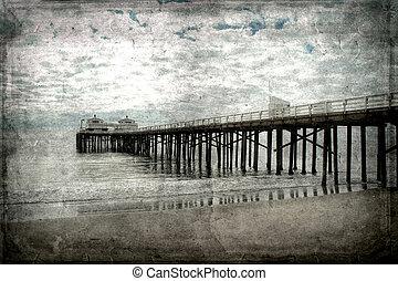 Retro-styled postcard of the pier at Newport Beach, California