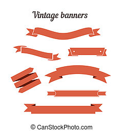 Retro styled ribbons collection. Vector illustration for...