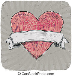 Retro styled tattoo heart with ribbon for your text. Layered. Vector EPS 10 illustration. Vector illustration, EPS10.