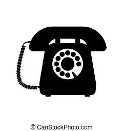 Retro styled telephone. Flat design vector illustration...