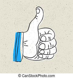 Retro styled thumb up symbol. Vector illustration, EPS10