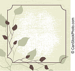 Retro styled vector background with brown leaves.