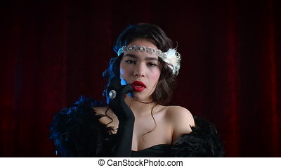 Retro styled woman dressed in Gatsby era is unpleasantly ...