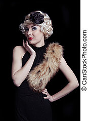 Retro-styled woman with boa