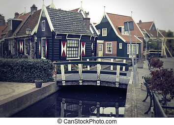 old typical dutch village - retro stylich old typical dutch...