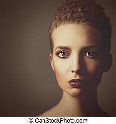 Retro styling female portrait with copy space for your design
