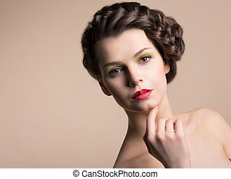 Retro Styling. Genuine Nostalgic Chic Woman with Plaited Brown Hair. Plait