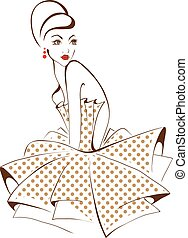 retro, styling, giovane, isolato, proposta, donna, bello,...