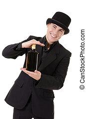 Retro stylish man demonstrates bottle with alcohol