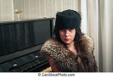 Retro stylish woman closeup portrait