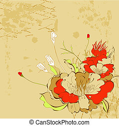Retro stylized background with flowers