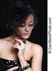 retro-stylized, mulher, em, chapéu preto, com, véu