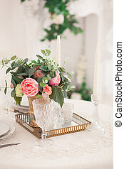 Retro stylized photo of wedding table setting in rustic style