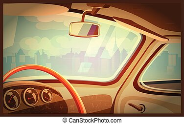 Retro - Stylized retro interior vector illustration of an...
