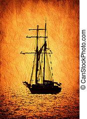 Retro-stylized sailer ship image.
