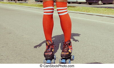 Retro Stylized Sexy Girl On Roller Skates - Retro Stylized...