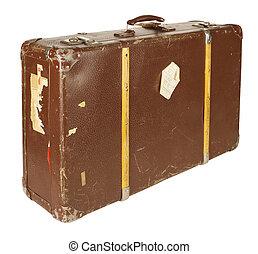 Retro suitcase isolated on white