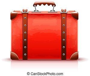 Retro suitcase. Luggage bag for travel. Vector - Retro...
