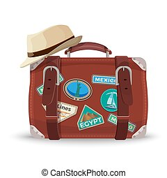 Retro suitcase with travel stickers and fedora hat of beige...