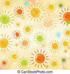 vintage summer background with drawn motley suns over old paper