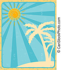 retro summer label with sun, rays and palms