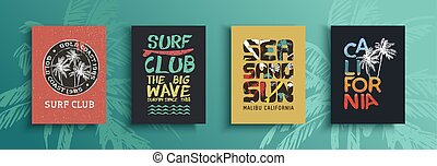 Retro summer quote set and surf labels - Summer card set of...