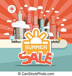 Retro Summer Sale Vector Illustration of Abstract Town - City with Skyscrapers in Flat Design Style