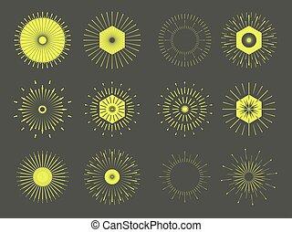 Retro Sun burst shapes. Vintage logo, labels, badges. Vector design elements isolated. Minimal Gold firework burst.