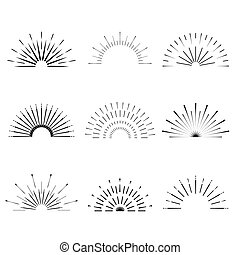 Retro Sun burst shapes. Vintage starburst logo, labels, badges. Sunburst minimal logo frames. Vector firework design elements isolated. Sun burst light logo. Minimal vintage gold firework burst.