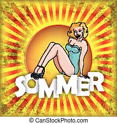 Retro Sun Sommer Fest Pinup Girl - German text Sommer,...