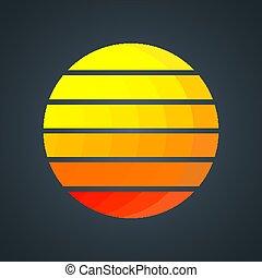 Retro sun with colorful gradient stripes. Vintage 1980s background design