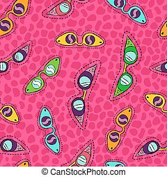 Retro sunglasses hand drawn patch seamless pattern