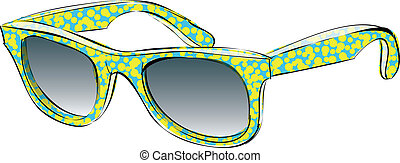 Retro Sunglasses With Pattern Doodle isolated on white background. Illustration is in eps10 vector mode!