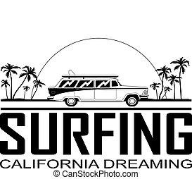 Retro Surfboard Car - Retro Happy Hippie Vintage Tropical...