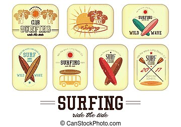 Retro Surfing Labels