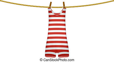 Retro swimsuit hanging on rope - Striped retro swimsuit...
