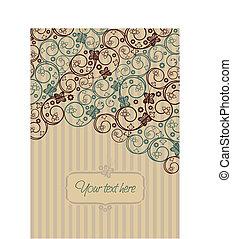 Brown and green retro swirls and butterflies greeting card