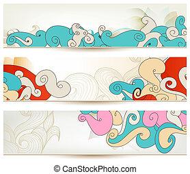 retro, swirls, vektor, bannere