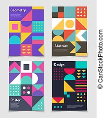 Retro swiss graphic posters with geometric bauhaus shapes....