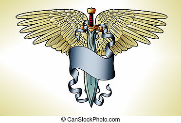 Retro sword banner tattoo - Illustration of a retro sword...